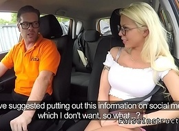 Huge tits babe banged in driving school