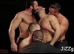 Homosexual model enjoys gangbang