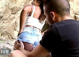 Hawt Big Butt Black Babe Noe Milk gets fucked nigh a cave