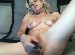 Drunk horny blonde with confining tits fucks slit hard
