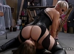 Peaches mistress spanked brunette sub