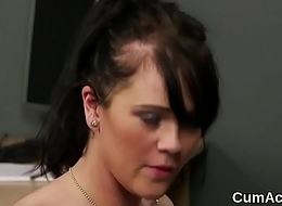 Spicy doll gets spunk flow on her face sucking all the spunk