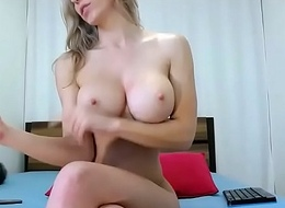 Busty blonde chick live strip tease
