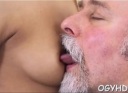 Horny old man teases young babe