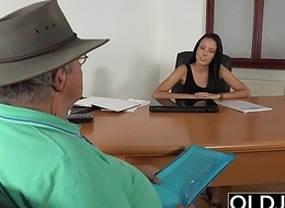 Caught Grandpa Having Sex With Young Brunette at job refer