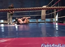 Busty euro les pussylicked by wrestling babe