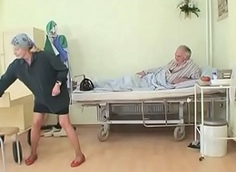 Sexy young sorrow gives a blow job to an old pig in hospital